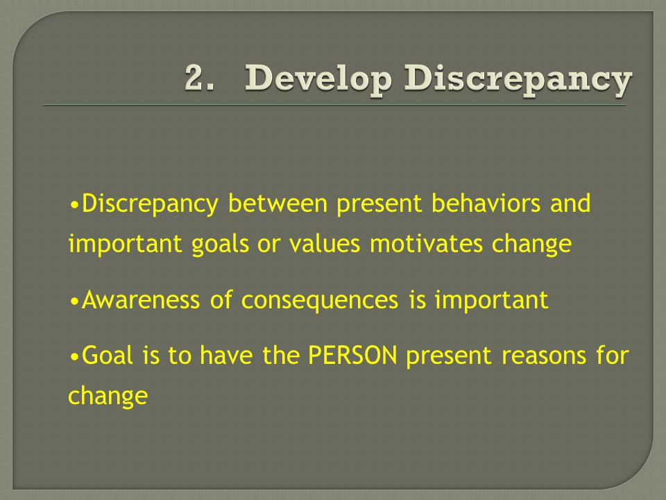 Discrepancy between present behaviors and important goals or values motivates change Awareness of consequences is important Goal is to have the PERSON present reasons for change