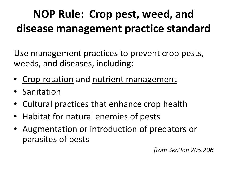 NOP Rule: Crop pest, weed, and disease management practice standard Use management practices to prevent crop pests, weeds, and diseases, including: Crop rotation and nutrient management Sanitation Cultural practices that enhance crop health Habitat for natural enemies of pests Augmentation or introduction of predators or parasites of pests from Section 205.206