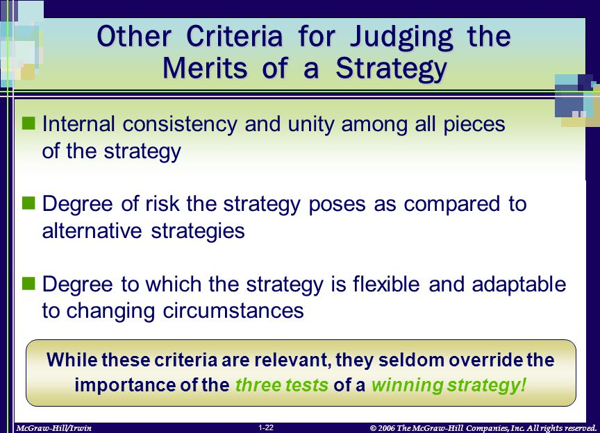 McGraw-Hill/Irwin© 2006 The McGraw-Hill Companies, Inc. All rights reserved. 1-22 Other Criteria for Judging the Merits of a Strategy Internal consist