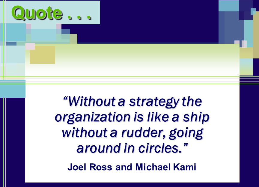 Without a strategy the organization is like a ship without a rudder, going around in circles. Quote...