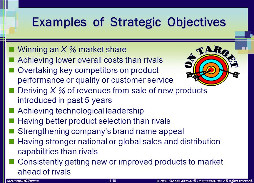 McGraw-Hill/Irwin© 2006 The McGraw-Hill Companies, Inc. All rights reserved. 1-46 Winning an X % market share Achieving lower overall costs than rival