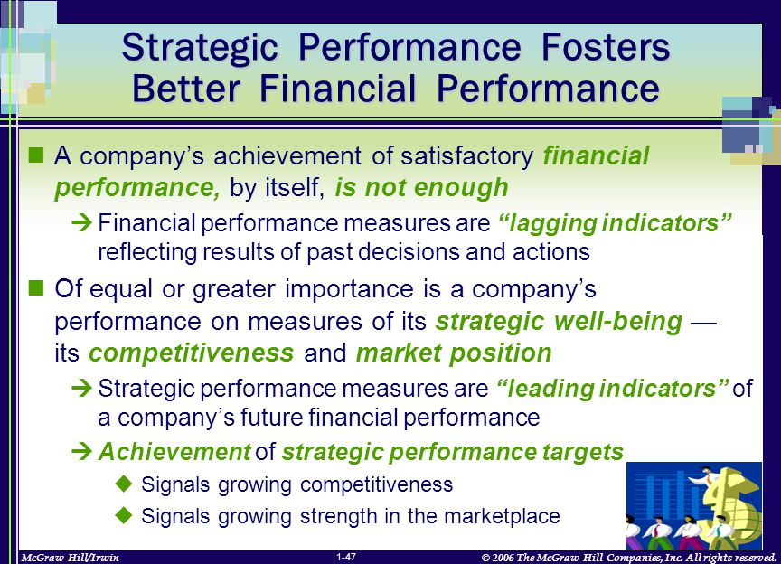 McGraw-Hill/Irwin© 2006 The McGraw-Hill Companies, Inc. All rights reserved. 1-47 Strategic Performance Fosters Better Financial Performance A company