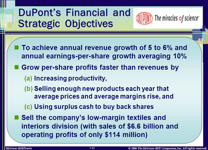 McGraw-Hill/Irwin© 2006 The McGraw-Hill Companies, Inc. All rights reserved. 1-51 To achieve annual revenue growth of 5 to 6% and annual earnings-per-