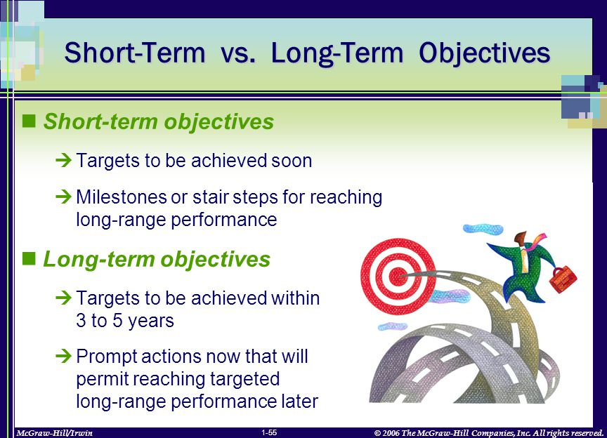 McGraw-Hill/Irwin© 2006 The McGraw-Hill Companies, Inc. All rights reserved. 1-55 Short-Term vs. Long-Term Objectives Short-term objectives  Targets