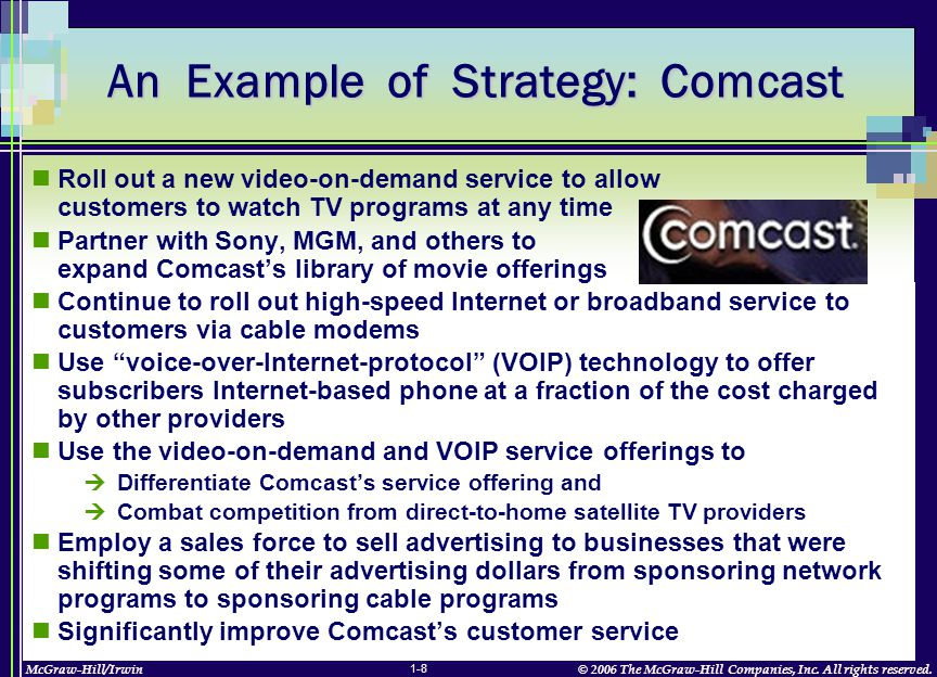 McGraw-Hill/Irwin© 2006 The McGraw-Hill Companies, Inc. All rights reserved. 1-8 An Example of Strategy: Comcast Roll out a new video-on-demand servic