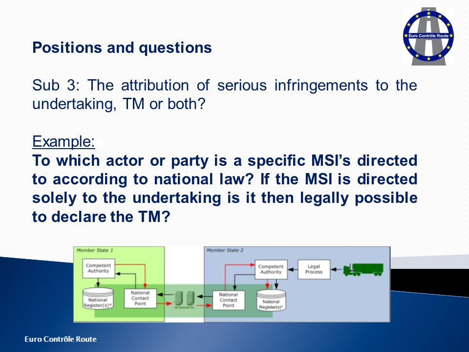Euro Contrôle Route Positions and questions Sub 3: The attribution of serious infringements to the undertaking, TM or both.