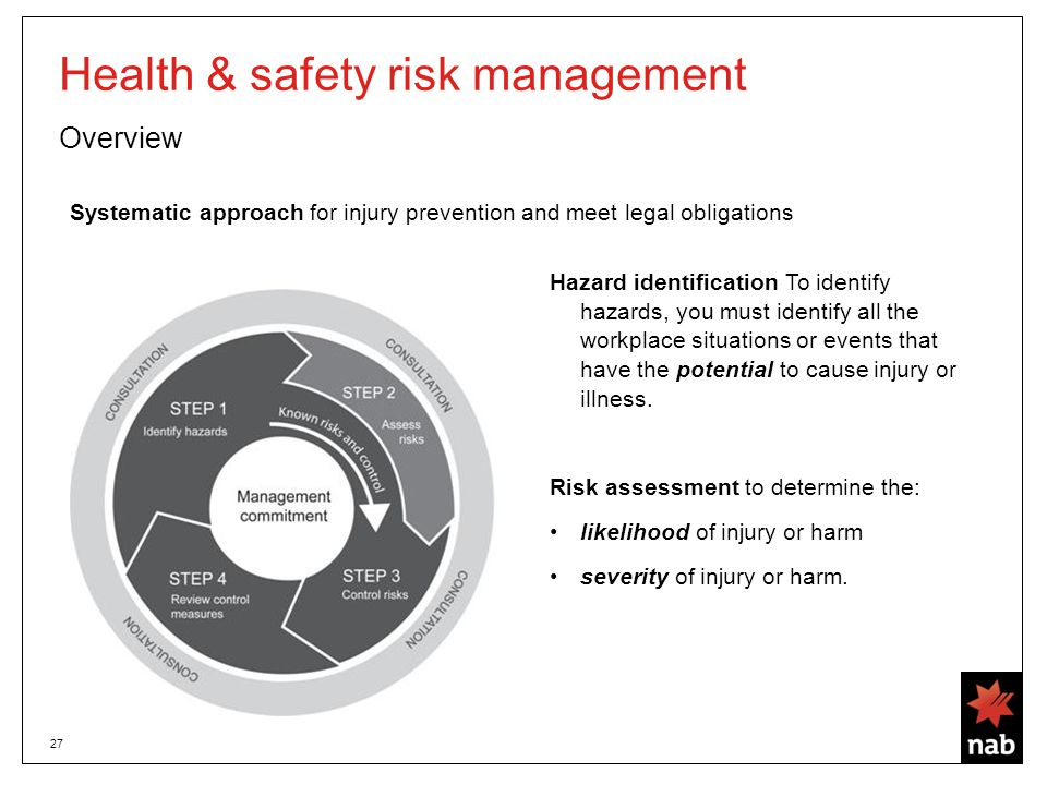 27 Health & safety risk management Overview Systematic approach for injury prevention and meet legal obligations Hazard identification To identify hazards, you must identify all the workplace situations or events that have the potential to cause injury or illness.