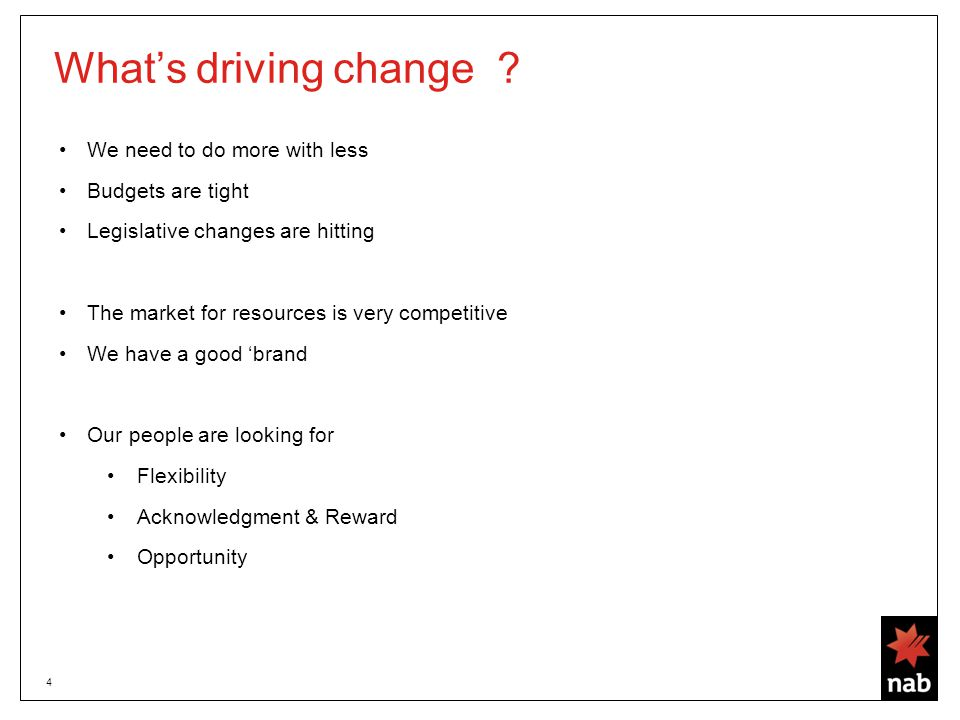 4 What's driving change .