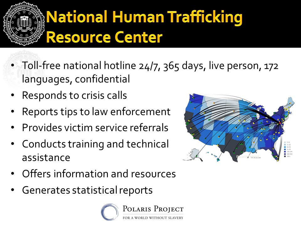 Toll-free national hotline 24/7, 365 days, live person, 172 languages, confidential Responds to crisis calls Reports tips to law enforcement Provides victim service referrals Conducts training and technical assistance Offers information and resources Generates statistical reports Polaris Project