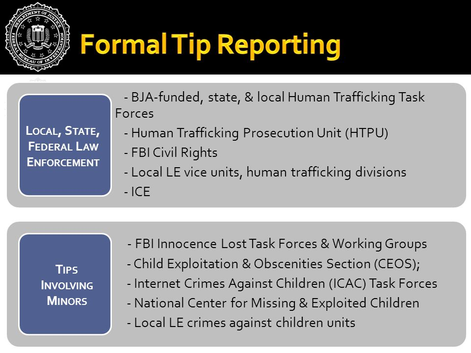 - BJA-funded, state, & local Human Trafficking Task Forces - Human Trafficking Prosecution Unit (HTPU) - FBI Civil Rights - Local LE vice units, human trafficking divisions - ICE - FBI Innocence Lost Task Forces & Working Groups - Child Exploitation & Obscenities Section (CEOS); - Internet Crimes Against Children (ICAC) Task Forces - National Center for Missing & Exploited Children - Local LE crimes against children units L OCAL, S TATE, F EDERAL L AW E NFORCEMENT T IPS I NVOLVING M INORS