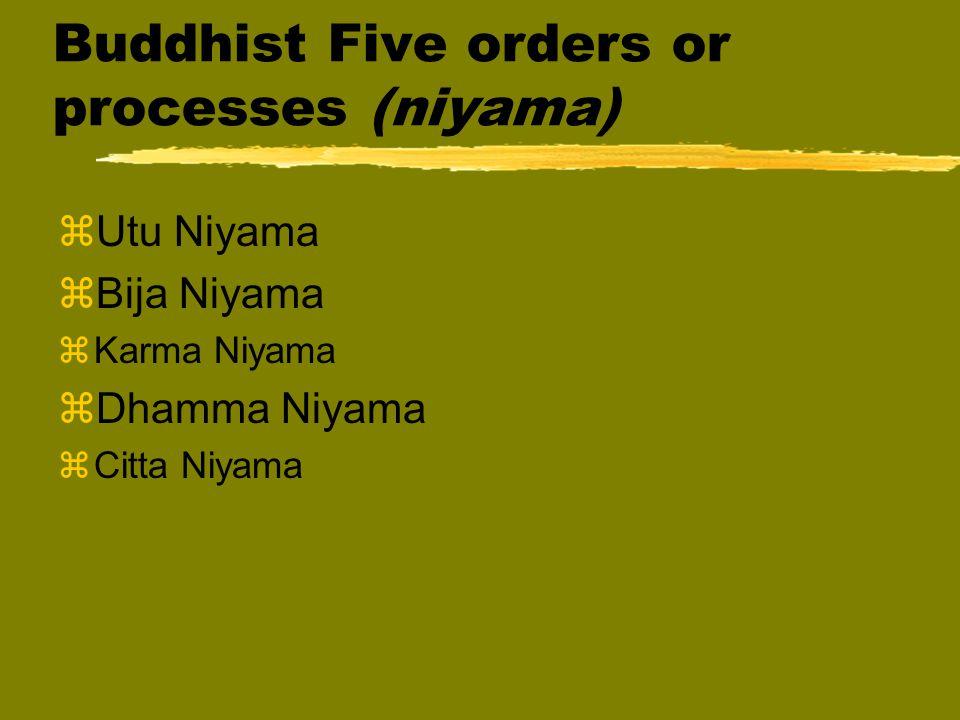 Buddhist Five orders or processes (niyama) zUtu Niyama zBija Niyama zKarma Niyama zDhamma Niyama zCitta Niyama