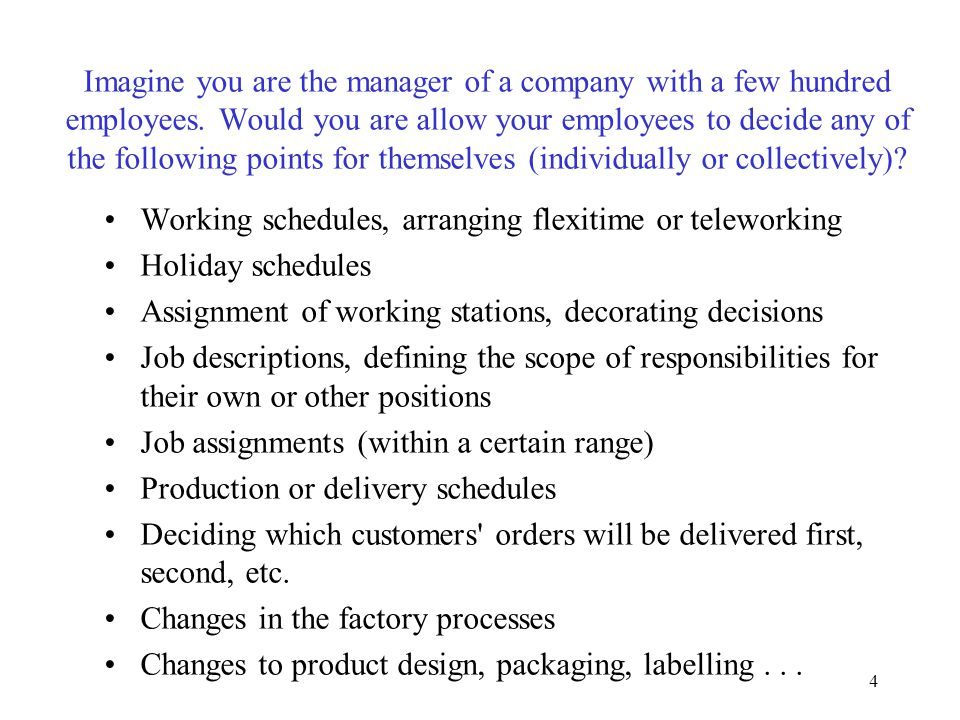 4 Imagine you are the manager of a company with a few hundred employees. Would you are allow your employees to decide any of the following points for