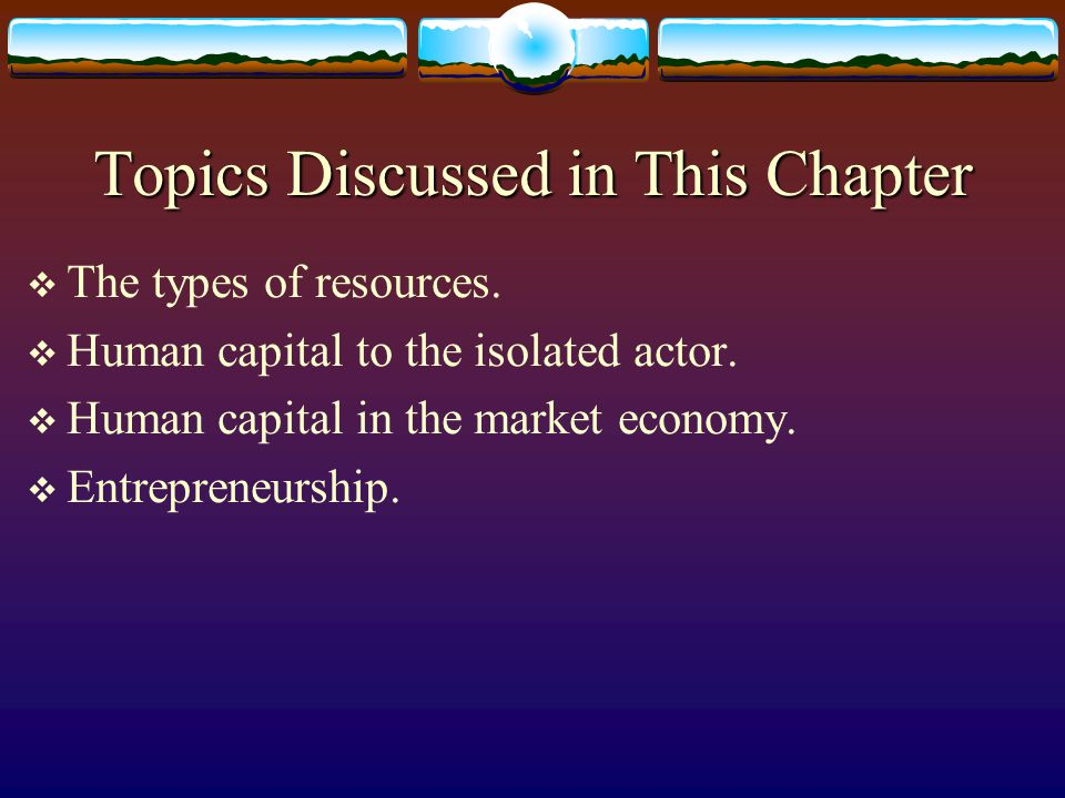 Topics Discussed in This Chapter  The types of resources.