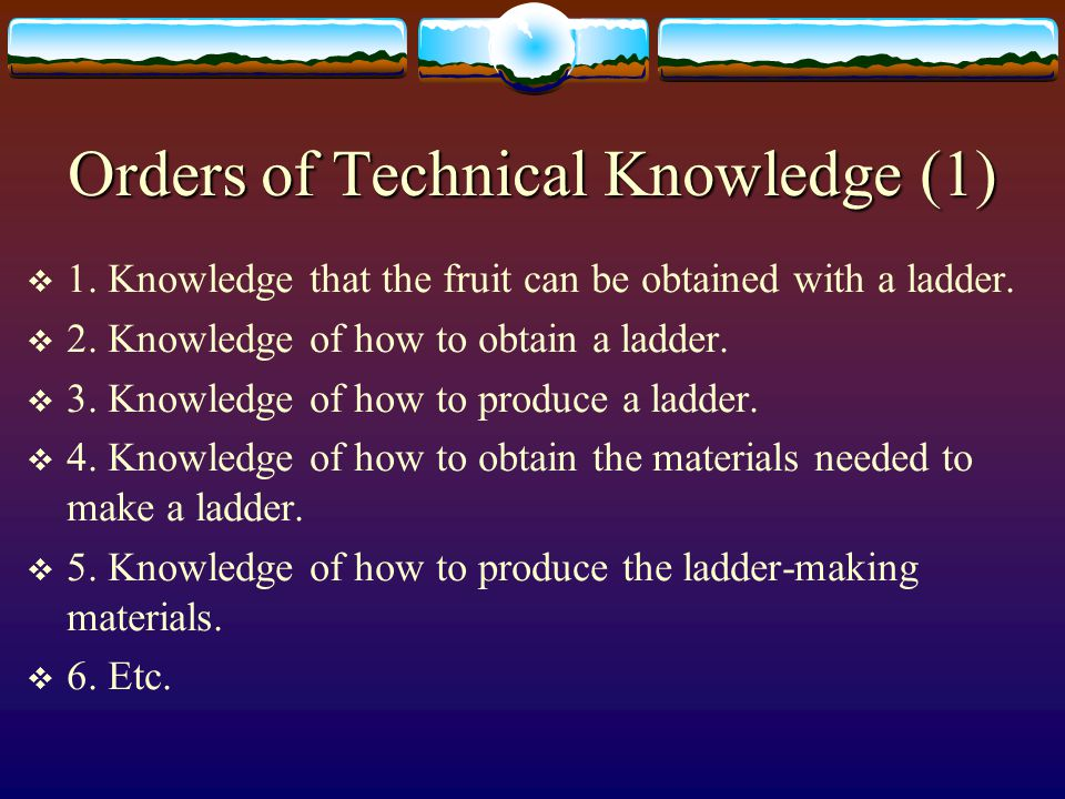 Technical Knowledge In Market Interaction And In The Isolated Actor  In a market economy, different bits of technical knowledge – i.e., of the knowledge of how to produce different resources and goods – are usually in different minds.