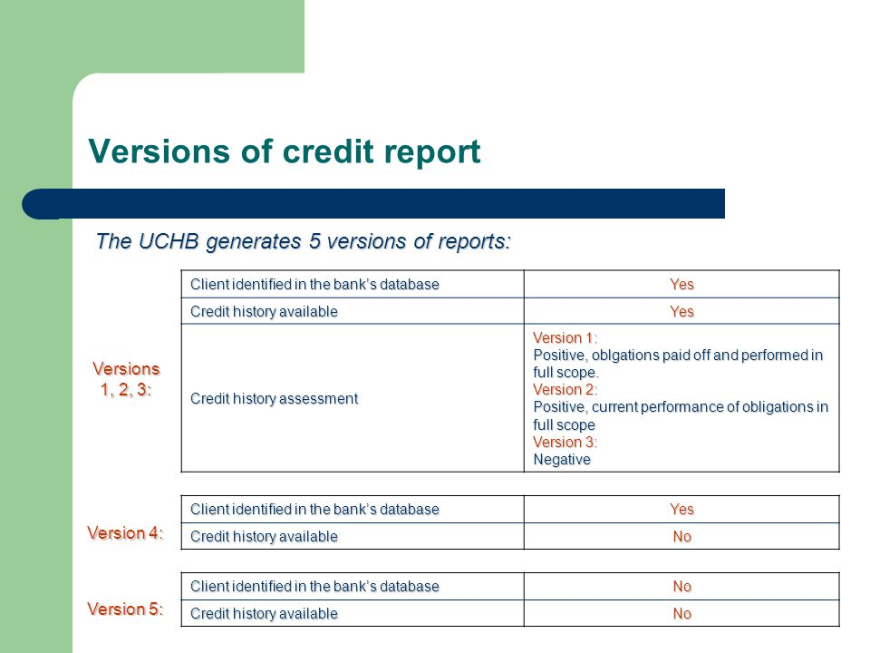 Versions of credit report Client identified in the bank's database Yes Credit history available Yes Credit history assessment Version 1: Positive, obl