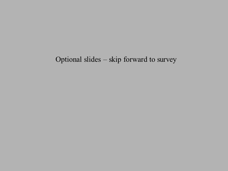 Optional slides – skip forward to survey