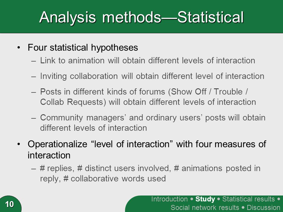 10 Analysis methods—Statistical Four statistical hypotheses –Link to animation will obtain different levels of interaction –Inviting collaboration will obtain different level of interaction –Posts in different kinds of forums (Show Off / Trouble / Collab Requests) will obtain different levels of interaction –Community managers' and ordinary users' posts will obtain different levels of interaction Operationalize level of interaction with four measures of interaction –# replies, # distinct users involved, # animations posted in reply, # collaborative words used Introduction  Study  Statistical results  Social network results  Discussion