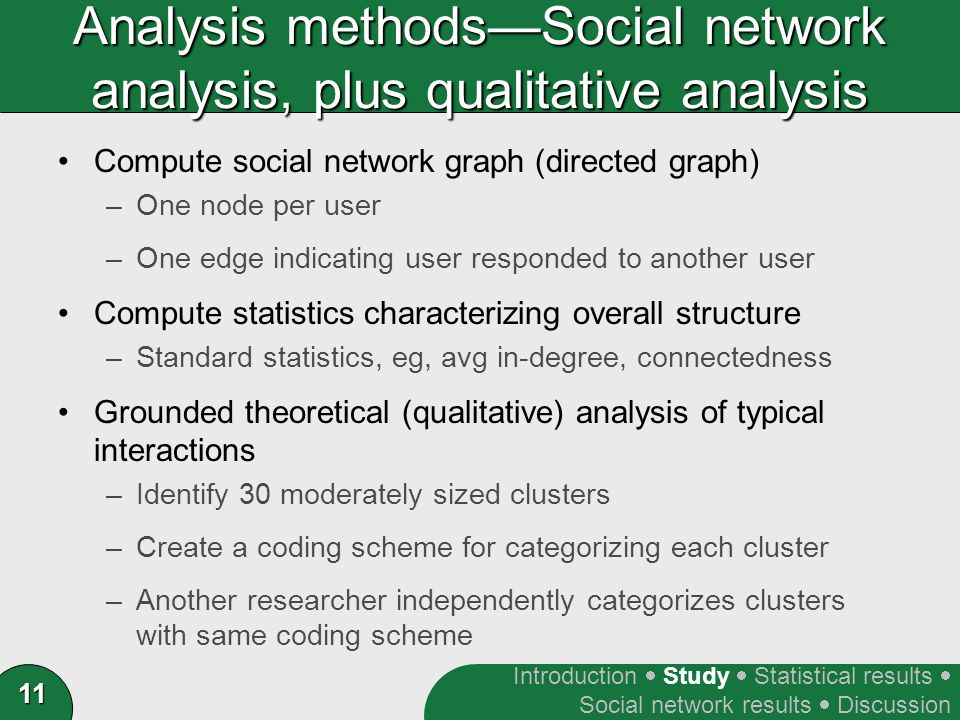 11 Analysis methods—Social network analysis, plus qualitative analysis Compute social network graph (directed graph) –One node per user –One edge indicating user responded to another user Compute statistics characterizing overall structure –Standard statistics, eg, avg in-degree, connectedness Grounded theoretical (qualitative) analysis of typical interactions –Identify 30 moderately sized clusters –Create a coding scheme for categorizing each cluster –Another researcher independently categorizes clusters with same coding scheme Introduction  Study  Statistical results  Social network results  Discussion