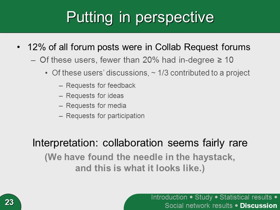 23 Putting in perspective 12% of all forum posts were in Collab Request forums –Of these users, fewer than 20% had in-degree ≥ 10 Of these users' discussions, ~ 1/3 contributed to a project –Requests for feedback –Requests for ideas –Requests for media –Requests for participation Interpretation: collaboration seems fairly rare (We have found the needle in the haystack, and this is what it looks like.) Introduction  Study  Statistical results  Social network results  Discussion