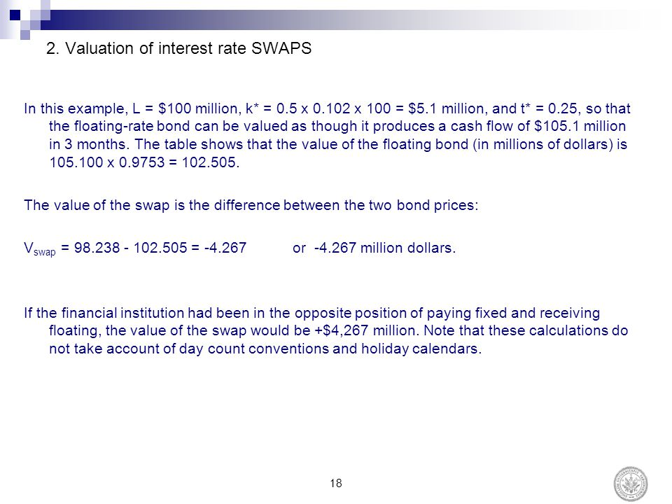 2. Valuation of interest rate SWAPS In this example, L = $100 million, k* = 0.5 x 0.102 x 100 = $5.1 million, and t* = 0.25, so that the floating-rate