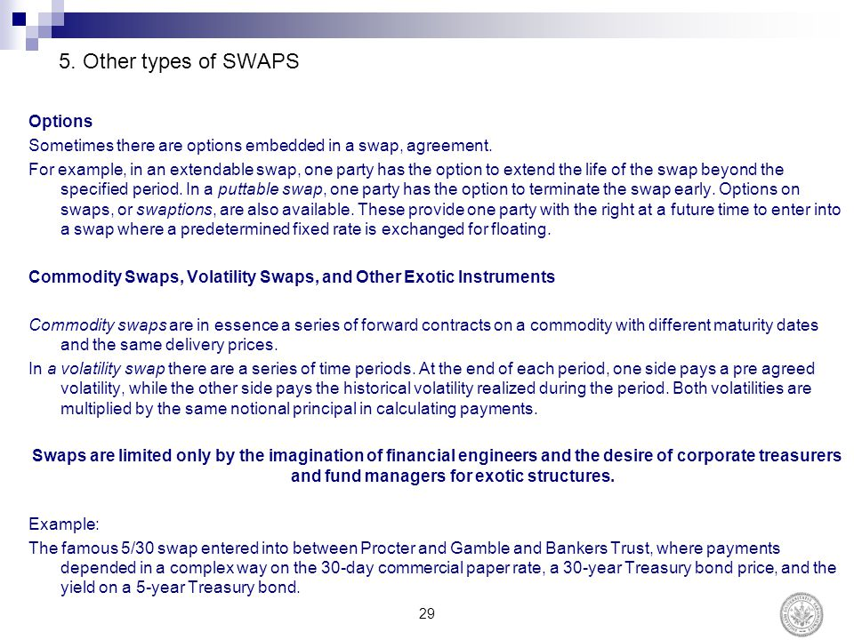 5.Other types of SWAPS Options Sometimes there are options embedded in a swap, agreement.