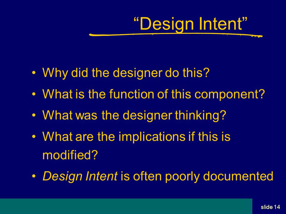 Student Name Server Utah School of Computing slide 13 Design Phases/Stages 1.Conceptual  Show that idea can work 2.Preliminary  Sufficient to understand, cost, etc 3.Detail  The whole enchilada  Adequate for contracting