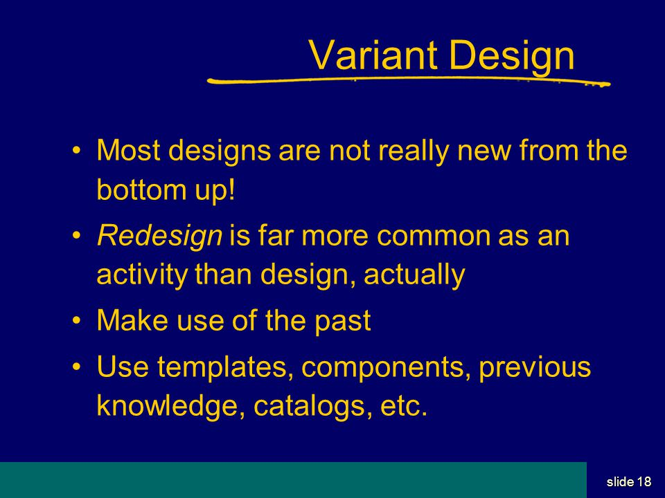 Student Name Server Utah School of Computing slide 17 Design Conventions Use standards for components Use standards for style Don't re-invent terms, tech, tools, etc.