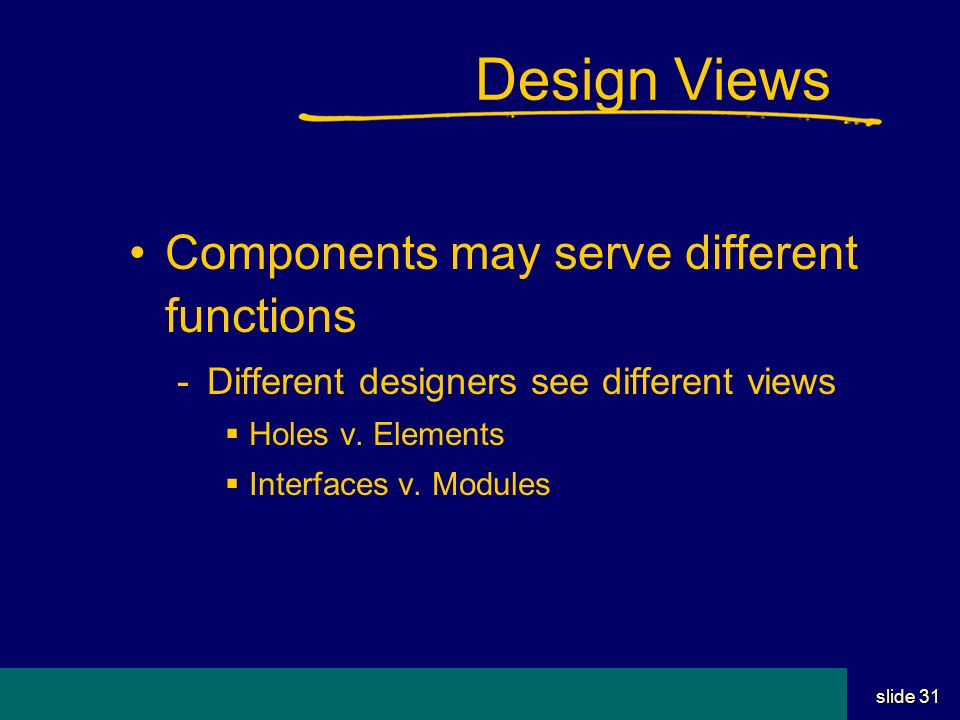 Student Name Server Utah School of Computing slide 30 Design is team sport Most designs involve more than one Interfaces are critical, not just components Communications, small granularity exchanges, important Negotiation, compromise part of deal