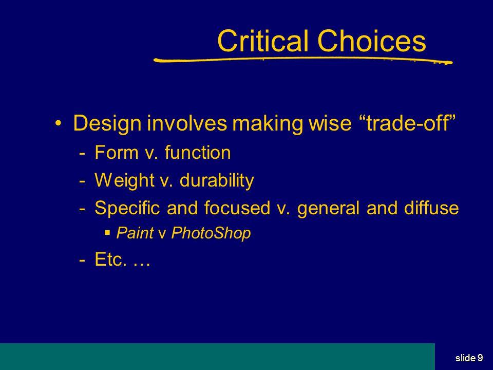 Student Name Server Utah School of Computing slide 9 Critical Choices Design involves making wise trade-off -Form v.