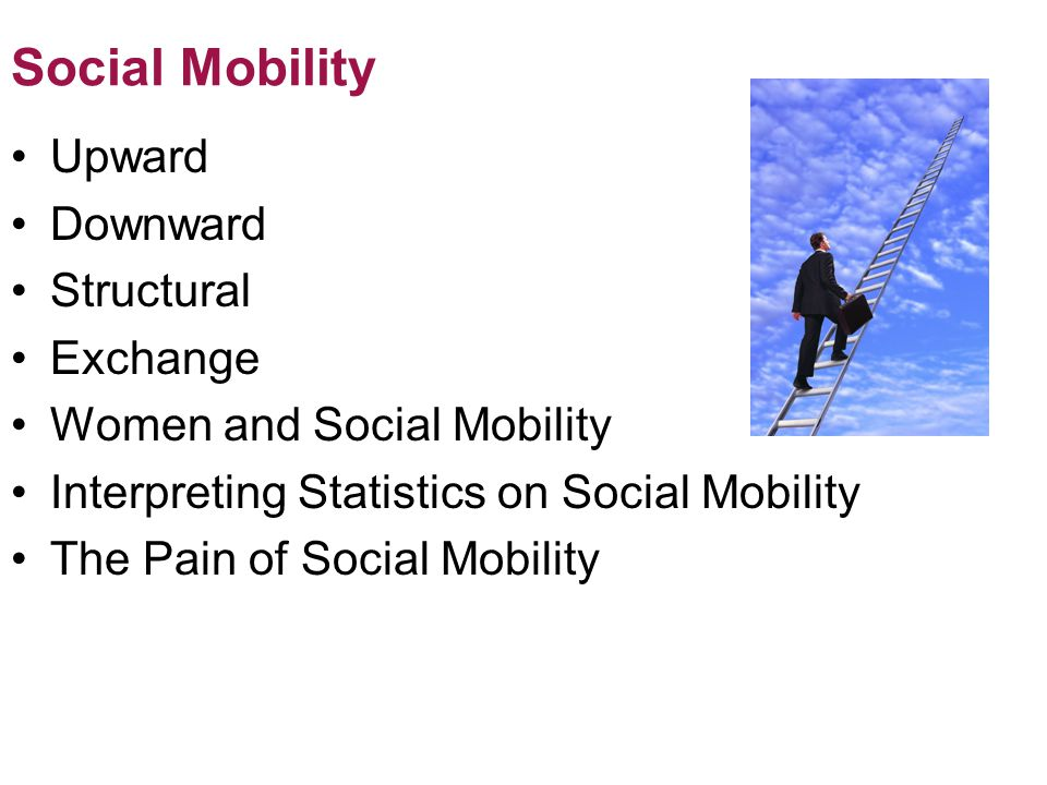 Social Mobility Upward Downward Structural Exchange Women and Social Mobility Interpreting Statistics on Social Mobility The Pain of Social Mobility © 2012 Pearson Education, Inc.