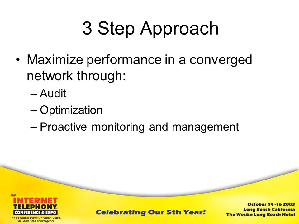 3 Step Approach Maximize performance in a converged network through: –Audit –Optimization –Proactive monitoring and management