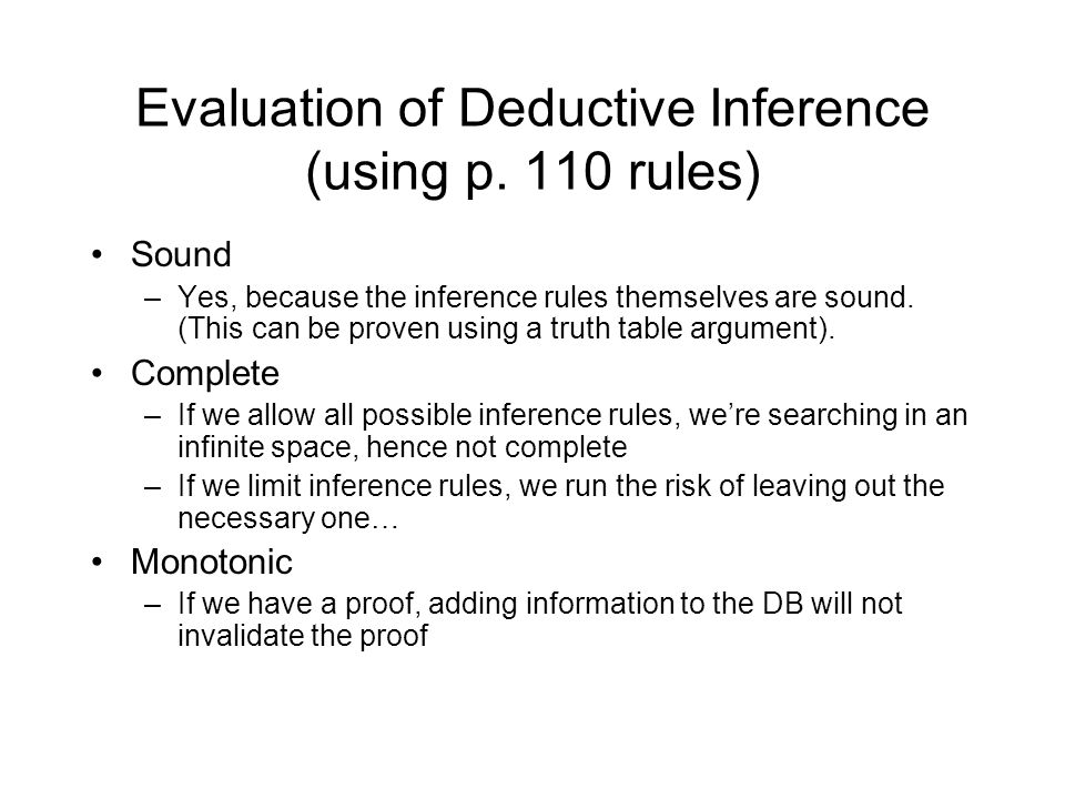 Evaluation of Deductive Inference (using p.