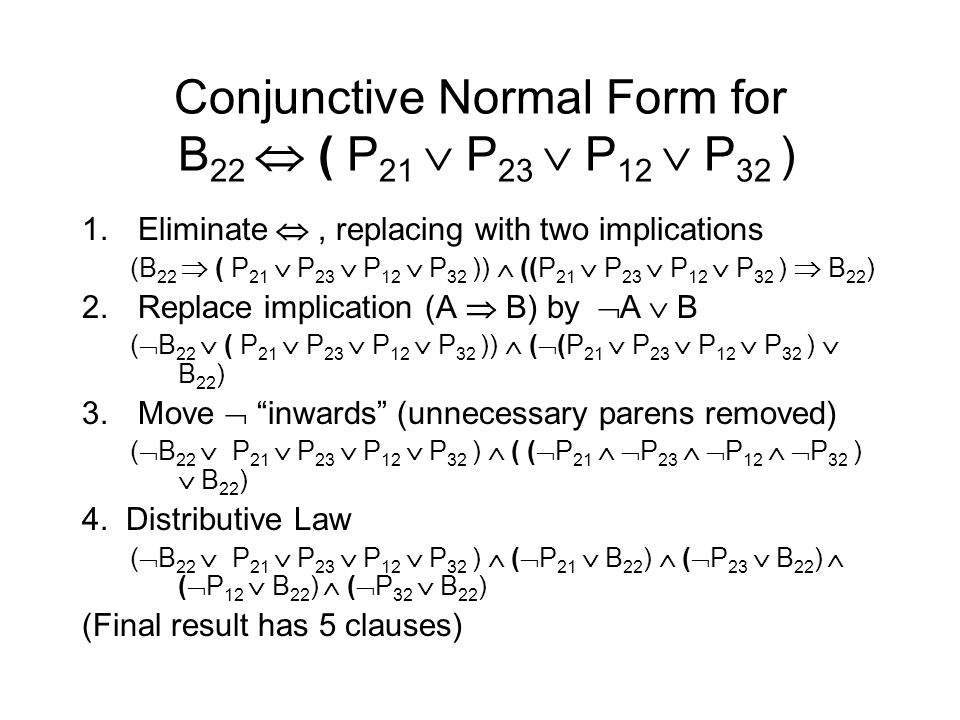 Conjunctive Normal Form for B 22  ( P 21  P 23  P 12  P 32 ) 1.