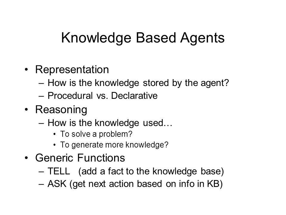 Knowledge Based Agents Representation –How is the knowledge stored by the agent.