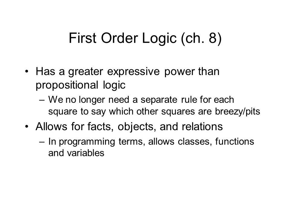 First Order Logic (ch.