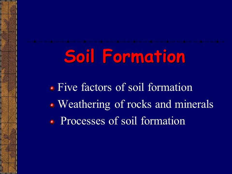 Soil Formation Five factors of soil formation Weathering of rocks and minerals Processes of soil formation