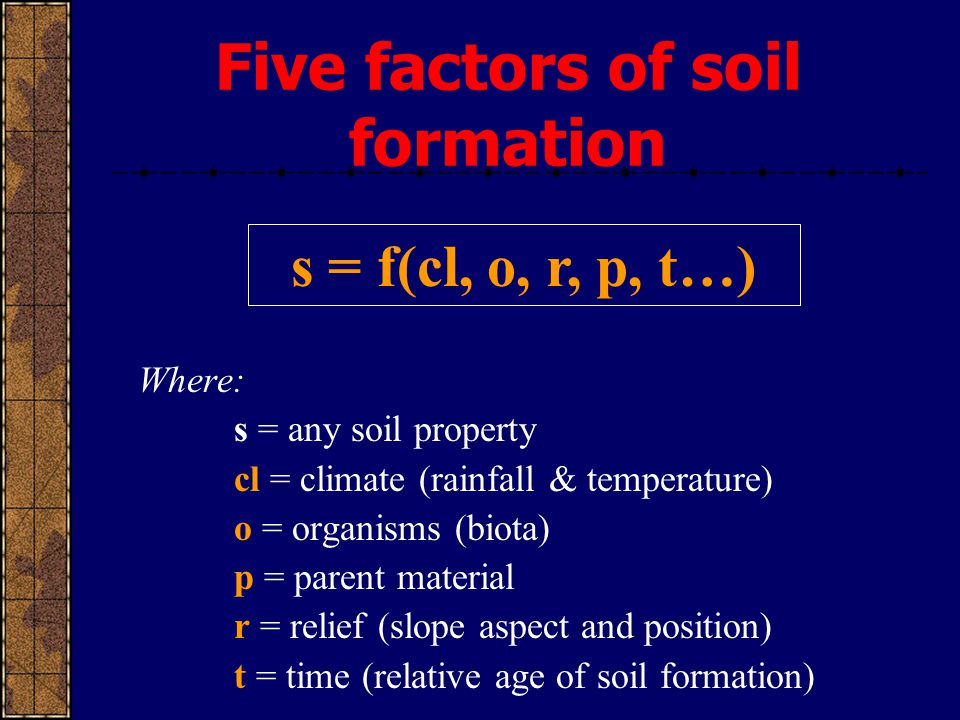 Where: s = any soil property cl = climate (rainfall & temperature) o = organisms (biota) p = parent material r = relief (slope aspect and position) t