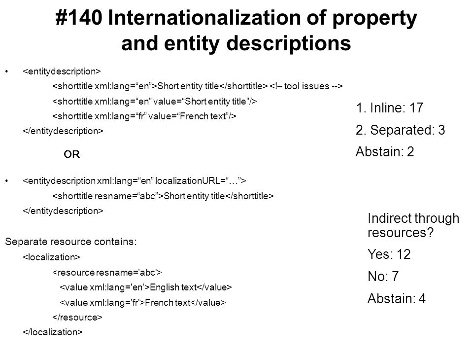 #140 Internationalization of property and entity descriptions Short entity title OR Short entity title Separate resource contains: English text French text 1.