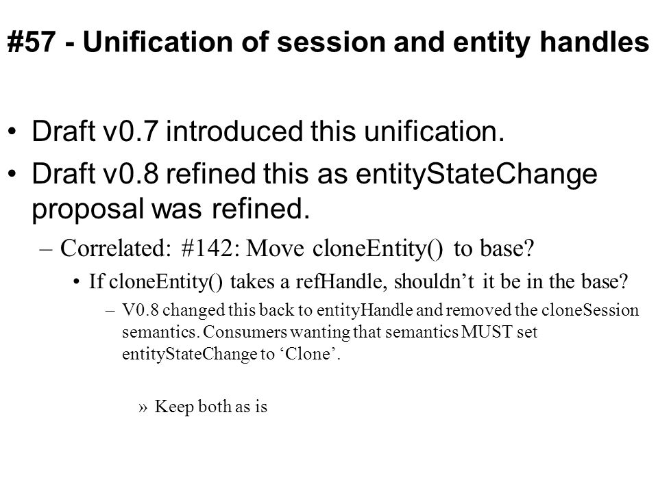 #57 - Unification of session and entity handles Draft v0.7 introduced this unification.