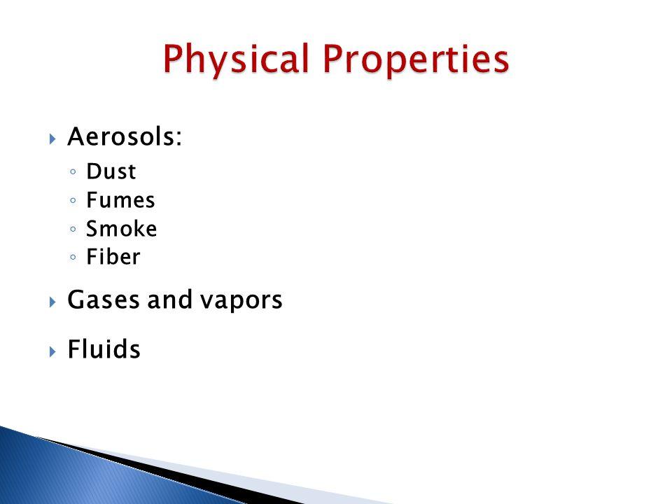  Aerosols: ◦ Dust ◦ Fumes ◦ Smoke ◦ Fiber  Gases and vapors  Fluids