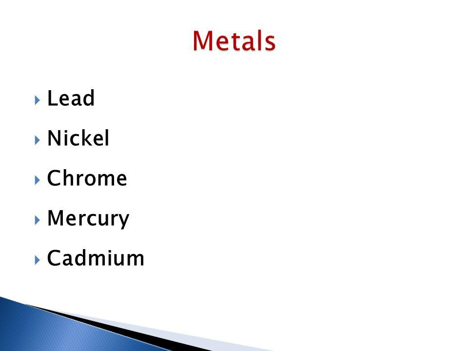  Lead  Nickel  Chrome  Mercury  Cadmium
