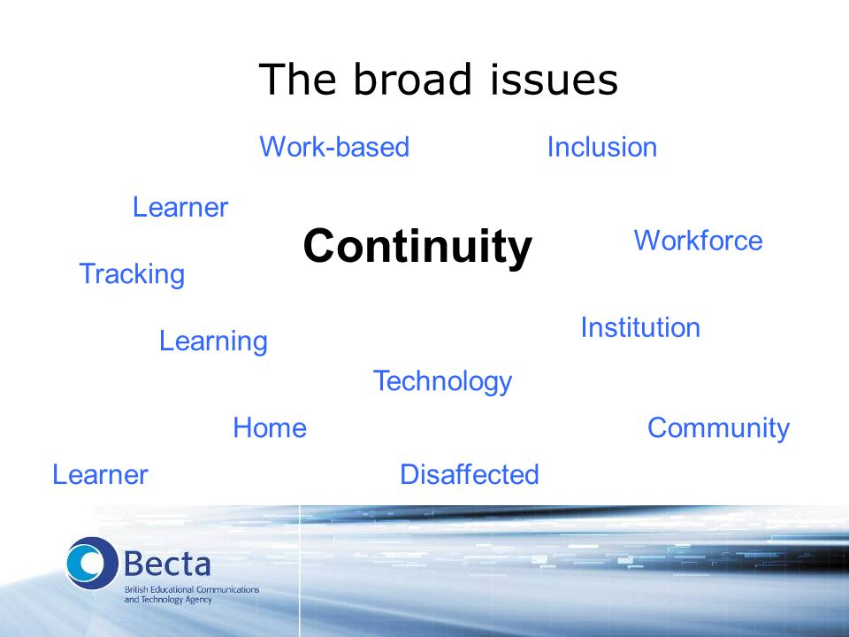 The broad issues Continuity Learner Learning Technology Institution Workforce