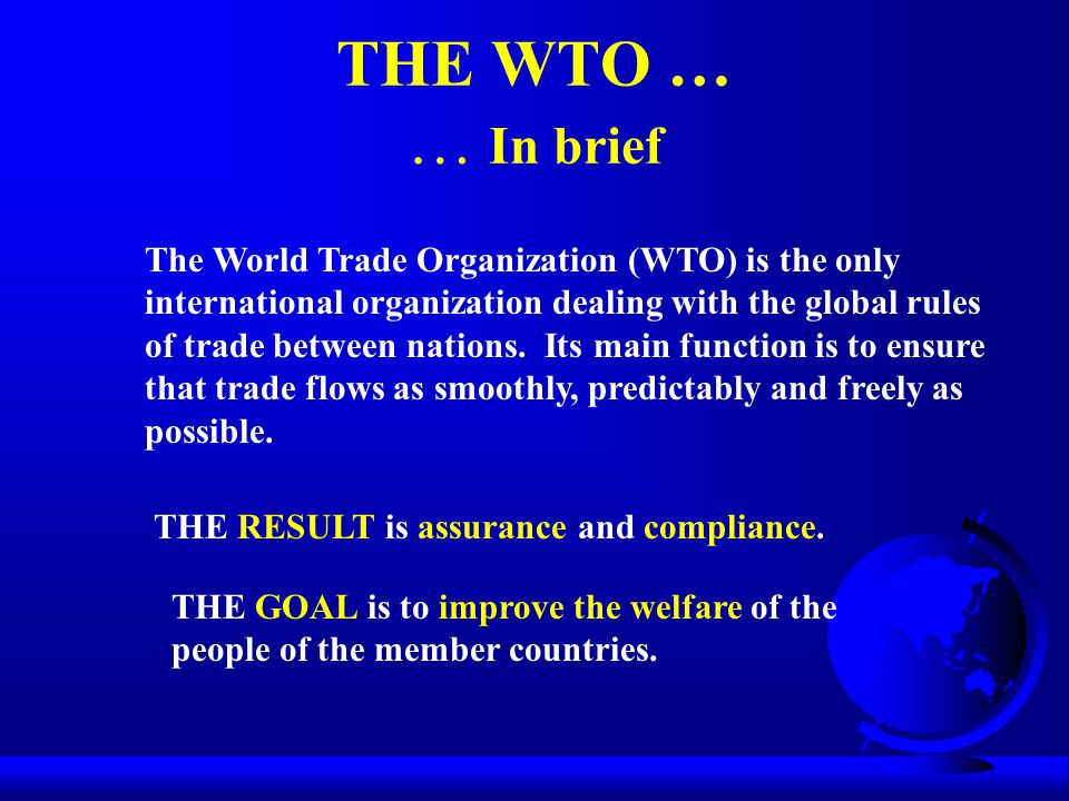 THE WTO … … In brief The World Trade Organization (WTO) is the only international organization dealing with the global rules of trade between nations.