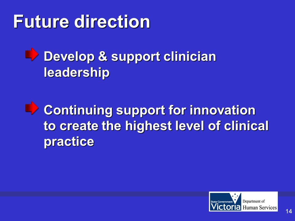 14 Future direction Develop & support clinician leadership Continuing support for innovation to create the highest level of clinical practice