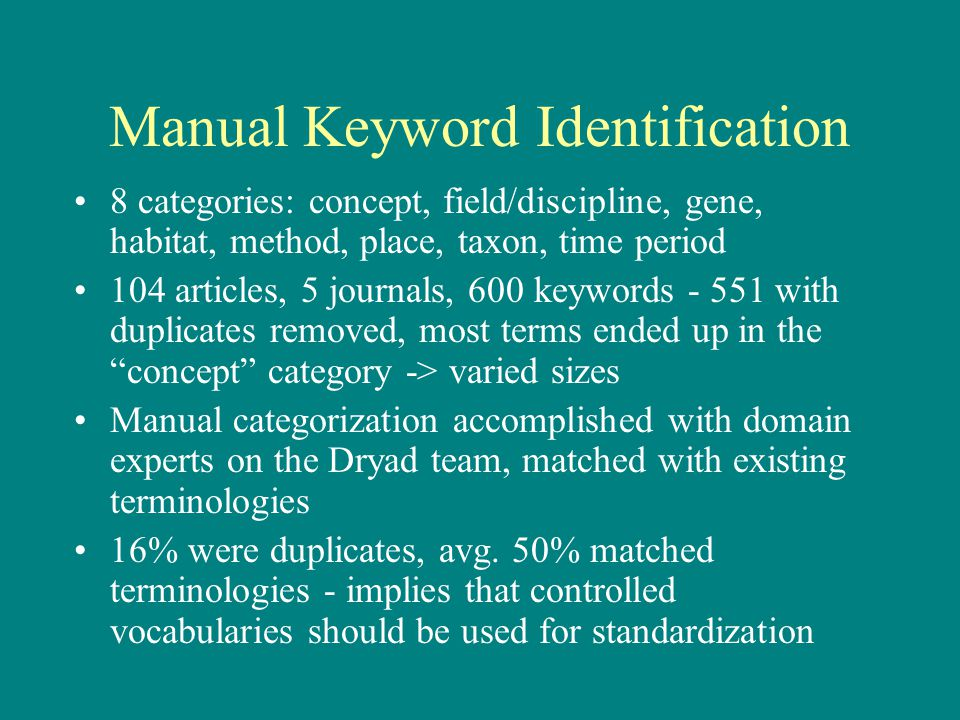 Manual Keyword Identification 8 categories: concept, field/discipline, gene, habitat, method, place, taxon, time period 104 articles, 5 journals, 600 keywords - 551 with duplicates removed, most terms ended up in the concept category -> varied sizes Manual categorization accomplished with domain experts on the Dryad team, matched with existing terminologies 16% were duplicates, avg.