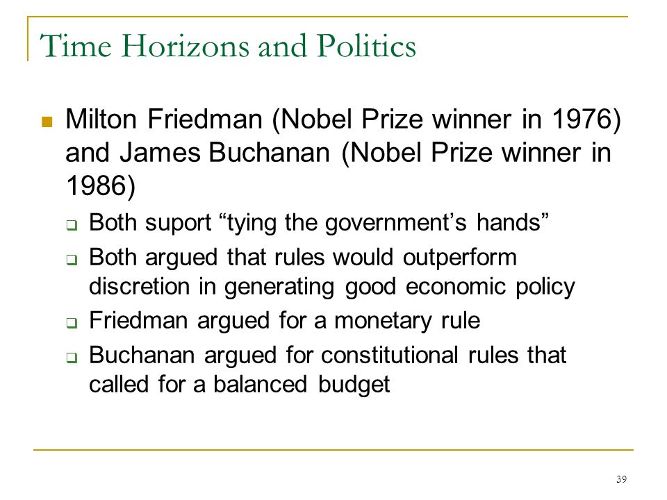 39 Time Horizons and Politics Milton Friedman (Nobel Prize winner in 1976) and James Buchanan (Nobel Prize winner in 1986)  Both suport tying the government's hands  Both argued that rules would outperform discretion in generating good economic policy  Friedman argued for a monetary rule  Buchanan argued for constitutional rules that called for a balanced budget