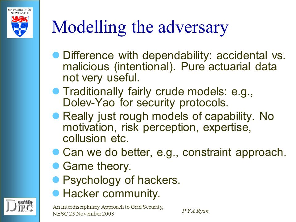 An Interdisciplinary Approach to Grid Security, NESC 25 November 2003 P Y A Ryan Modelling the adversary Difference with dependability: accidental vs.