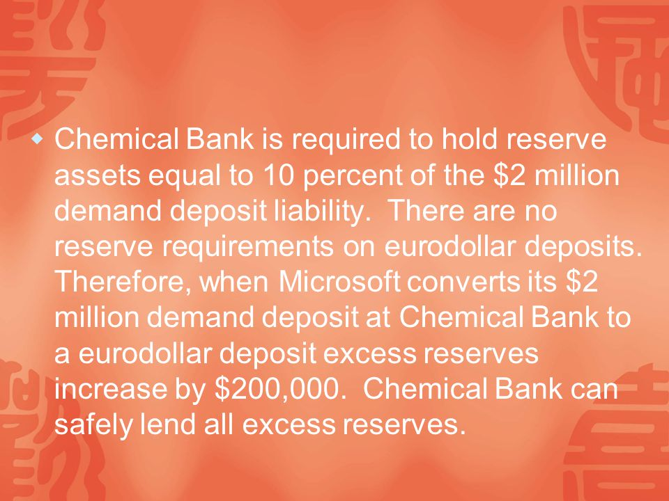  Chemical Bank is required to hold reserve assets equal to 10 percent of the $2 million demand deposit liability.