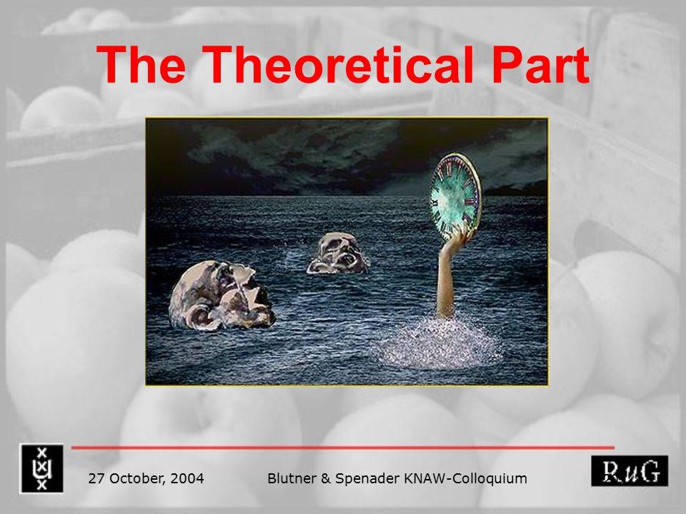27 October, 2004Blutner & Spenader KNAW-Colloquium 20 The Theoretical Part