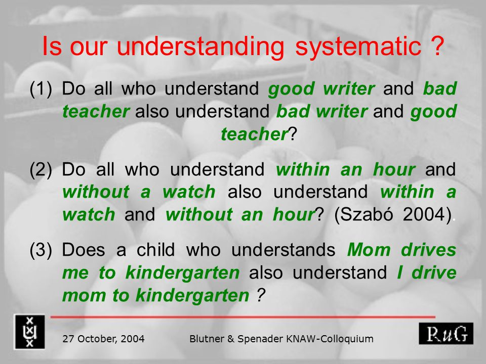 27 October, 2004Blutner & Spenader KNAW-Colloquium 5 Is our understanding systematic .
